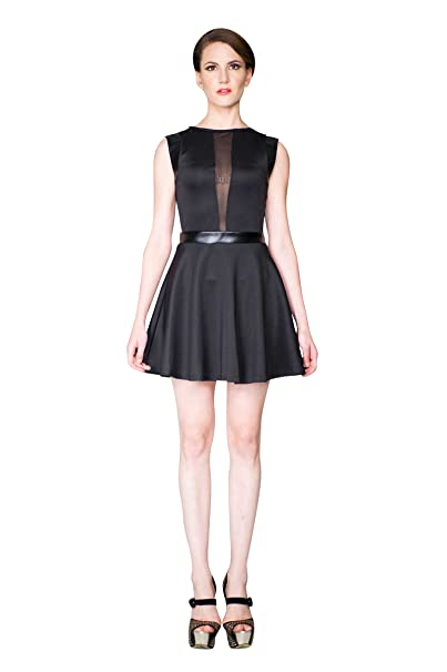Virgin Only Womens Fit And Flare Mini Dress With Mesh Cutouts At