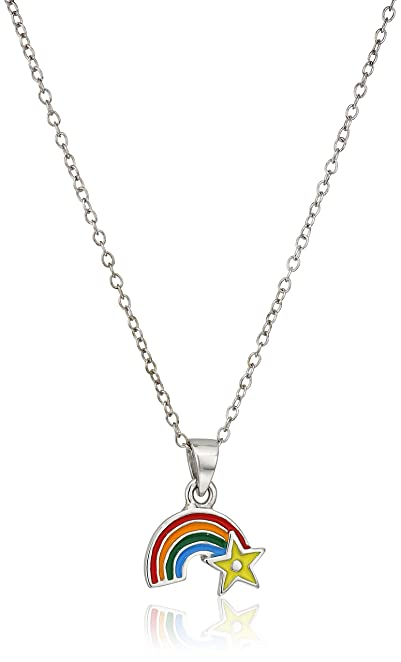 sterling necklace inch rainbow dp silver with clouds pendant com amazon