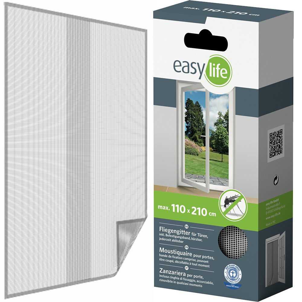 1 Fly Screen for Doors - Mosquito Net with Strap - Tearproof and Weatherproof - 120x210 cm - Charcoal easy life