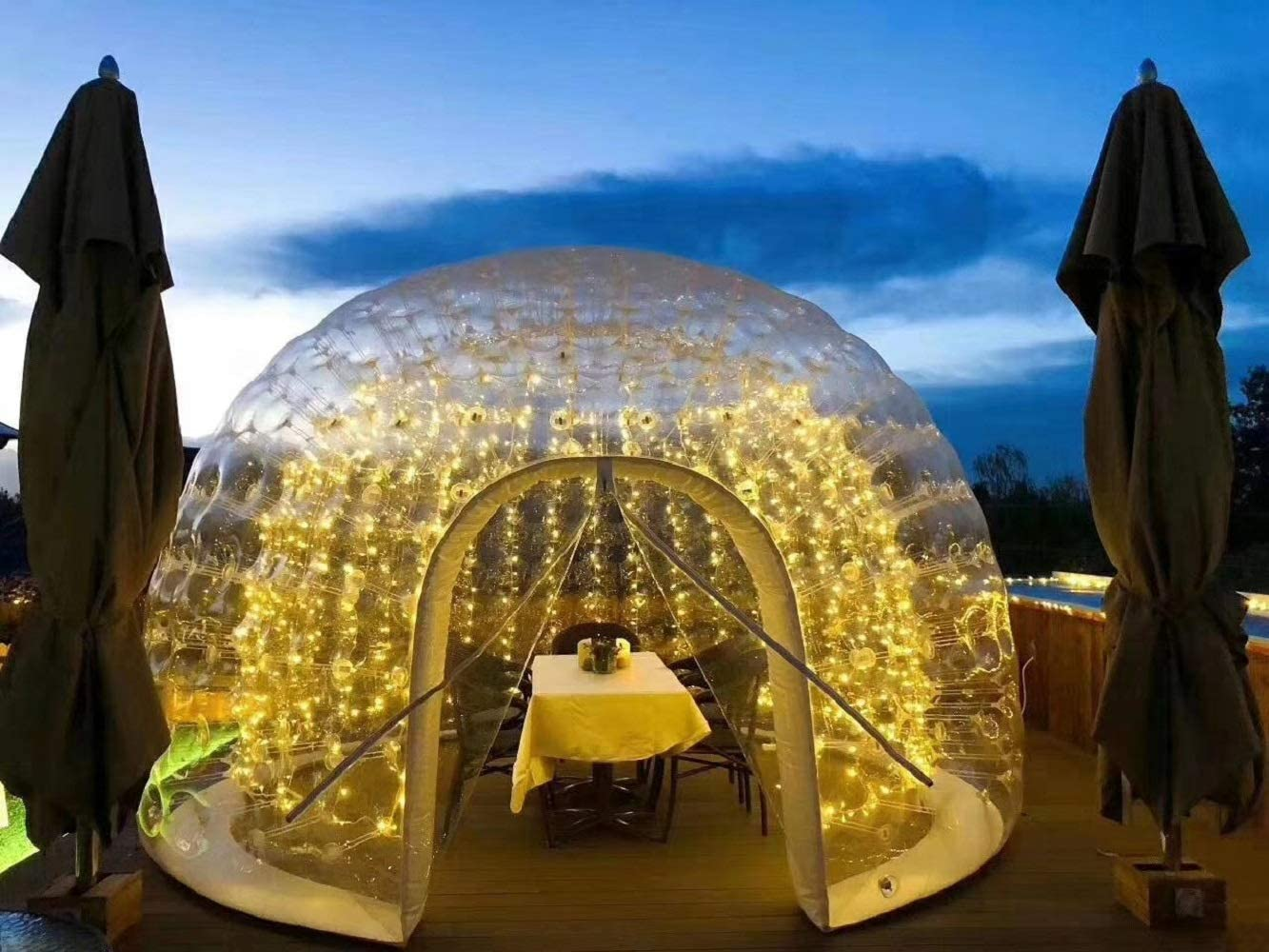 Foammaker Inflatable Transparent Bubble Tent,Double Layer Spherical Garden Igloo 360 Dome, Outdoor Luxurious Semitransparent Scenic Holiday Home Garden Outdoor Camping