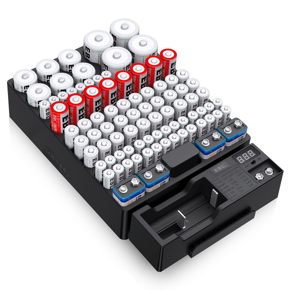 EBL Battery Organizer Storage Case, Includes Removabl Accurate Digital LED Screen Battery Tester with Holds 88 Batteries Various Sizes