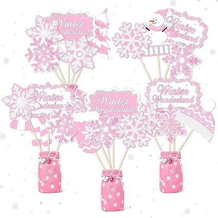 Glitter Pink Winter Onederland Banner Winter First Girl Birthday Party Decor Winter Wonderland Christmas Little Snowflake 1st Birthday Baby Shower Party Supplies Decorations Photo Prop