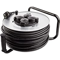 Carrete Alargador de Cable 50m 3x1.5mm IP44 Gris