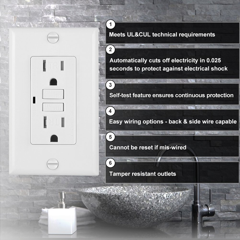 10 Pack Bestten Self Test Tamper Resistant Gfci Receptacle Outlet Groundfault Circuit Interrupter With Led Indicator Ground Fault 15amp 125volt Wall Plate Included