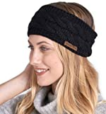 Womens Winter Ear Warmer Headband - Fleece Lined Cable Knit Ear