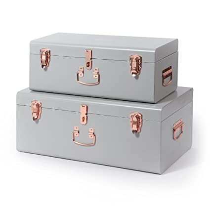 Beautify Gray Vintage Style Steel Metal Storage Trunk Set With Rose Gold  Handles   College Dorm