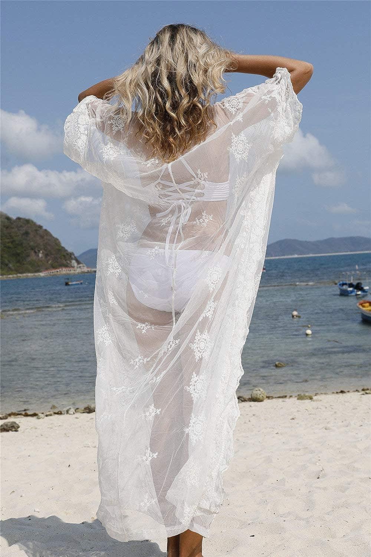 L-Peach Donna Abito Lungo Kaftan da Spiaggia Parei Copricostume Copribikini Cover ups