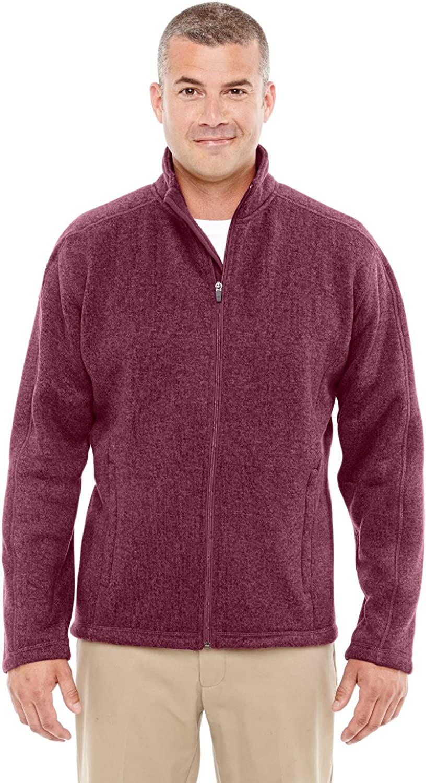 Large BURGUNDY HEATHER Devon /& Jones Mens Bristol Sweater Fleece Jacket