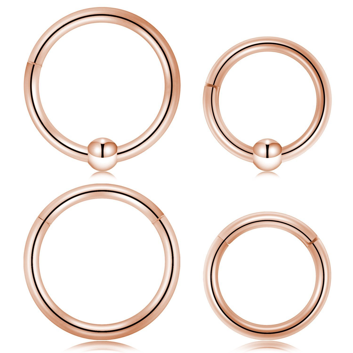 16G Stainless Steel Hinged Segment Seamless Clicker Ring Nose Ring Hoop Septum Piercing Kangyijia