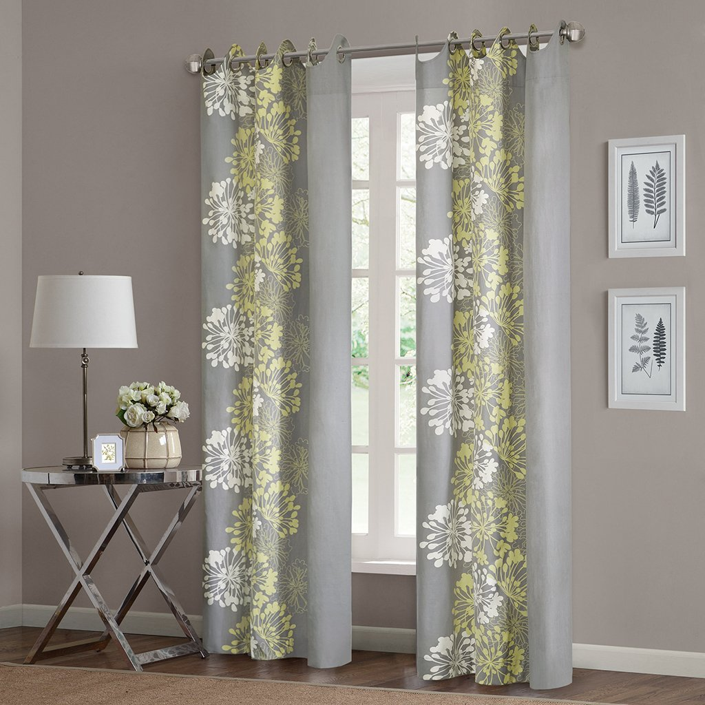 "Anaya Window Curtain Grey/Yellow 63"" Panel"