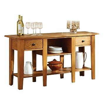 Steve Silver Company Liberty Sofa Table, Oak, 58u0026quot; ...