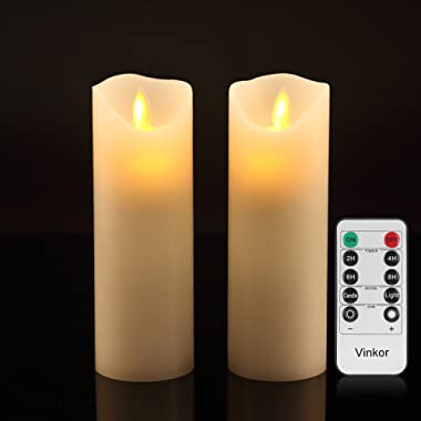 Vinkor Flameless Candles Flickering Flameless Candles Set of 2 Decorative Flameless Candles: 6  Classic Real Wax Pillar with Moving LED Flame & 10-Key Remote Control 2/4/6/8 Hours Timer (Ivory)