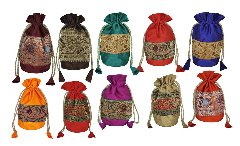 Jewellery Bags Coin Pouch Gift Item 10 Pcs 9 X 4 Inches