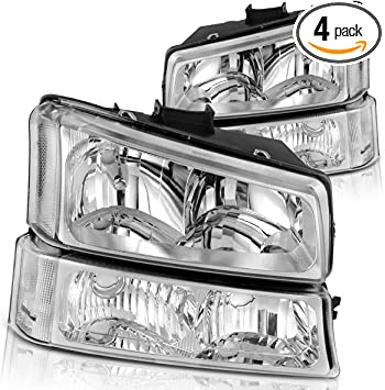 4 PCS, Not for Body Cladding Models Headlight Assembly For 2003-2006 Chevy Silverado Avalanche 1500//2500//3500 Headlights Replacement Black Housing Clear Lens /& Bumper Parking lights