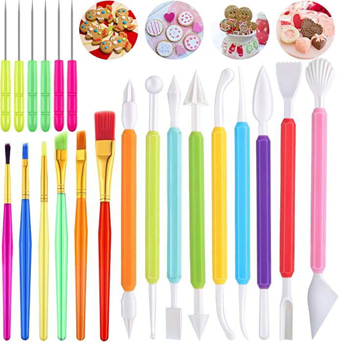 21 Pieces Cookie Decorating Tools Set, Include Cake Decoration Brushes, Sugar Stir Needle Cookie Scriber Needles and Fondant Cake Decorating Sculpting Modeling Tools for Cookie Cake Fondant Decoration