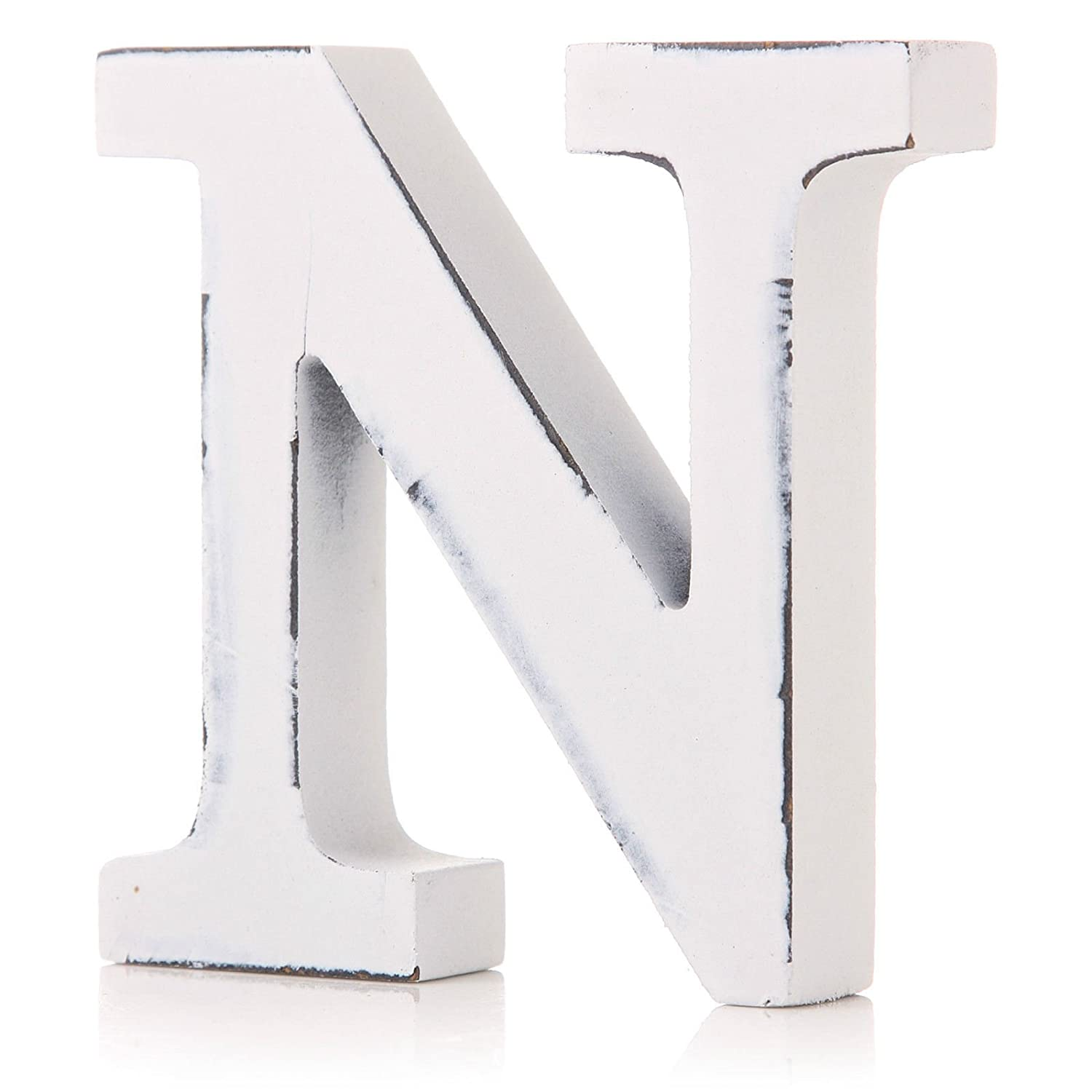 Vintage White Wooden N Letter by giftwarez