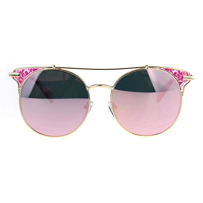 38802d7ca6 Image Unavailable. Image not available for. Color  Womens Pink Mirror Retro  Circle Lens Half Horn Rim Gold Metal Sunglasses