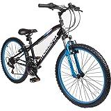 "Muddyfox 24"" Sniper Boys Hardtail Mountain Bike - 18 speed Shimano Twist Grip - Black and Blue - Frame Size 16"""