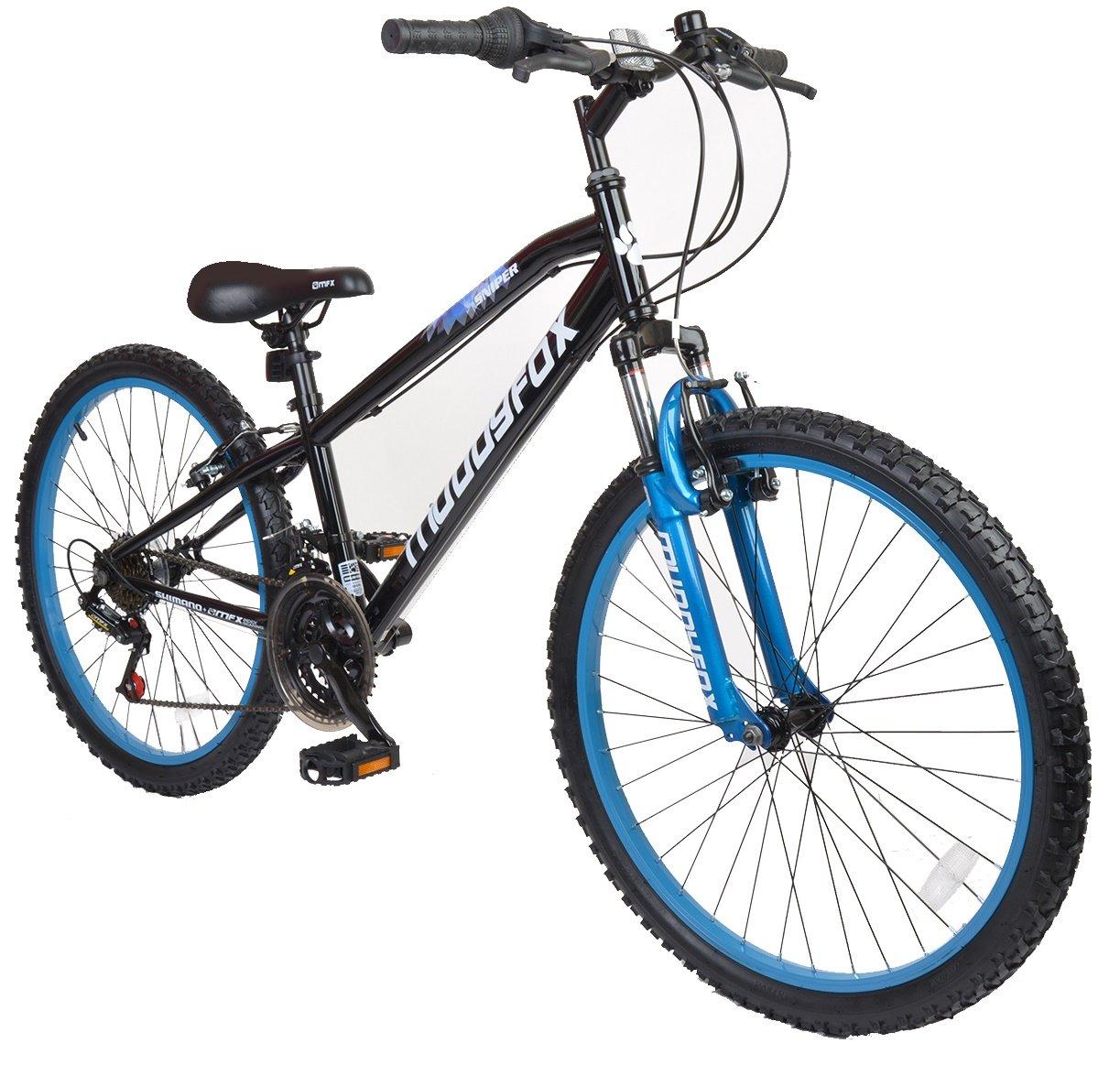 24 Inch Black//Blue Muddyfox Boy Sniper Hardtail 18 Speed Mountain Bike