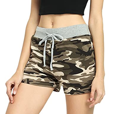 22b140a1017 Perfashion Women's Camo Shorts with Drawstring Yoga Running Workout Pants