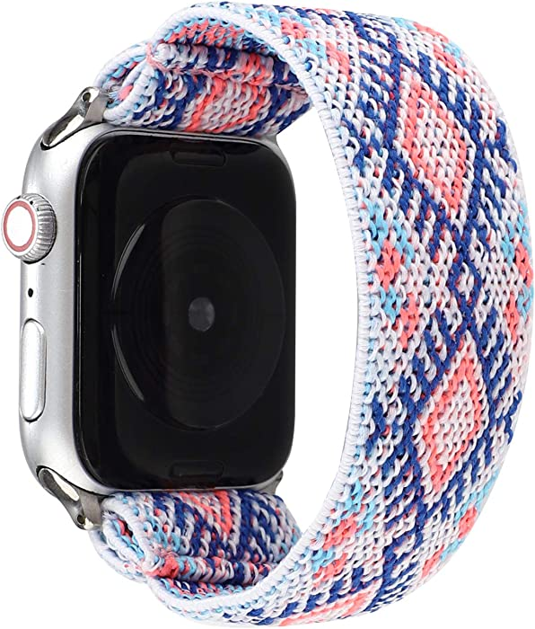 JimBird Stretchy Sport Loop Strap Compatible for Apple Watch Band 38mm 40mm iWatch Series 6/SE/5/4/3/2/1 Stretch Elastics Wristband (Sky, 38/40mm for Small Wrist)