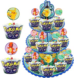 TOXYU 32Pcs Pikachu Cupcake Stand kits, Pikachu Cake Toppers, 3 Tier Cakes Stand, Display Tower Cartoon Theme Party Supplies