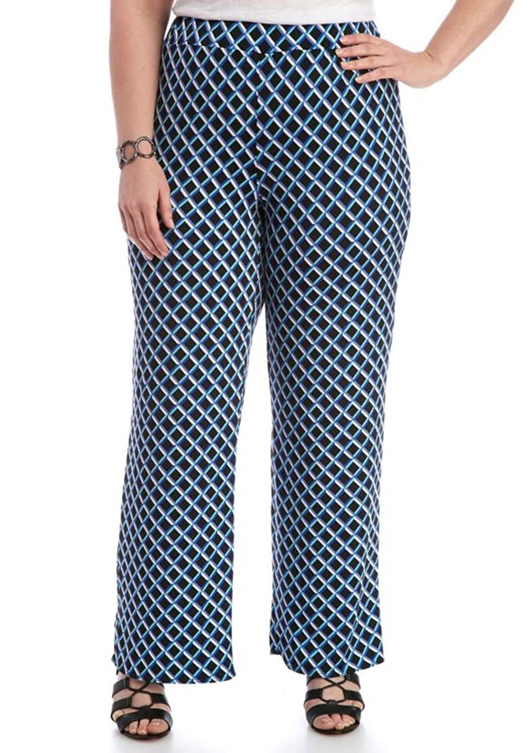 13ce6dfffb086 Kim Rogers Women s Plus Size Shadow Box Soft Pant (Blue Magnitude ...