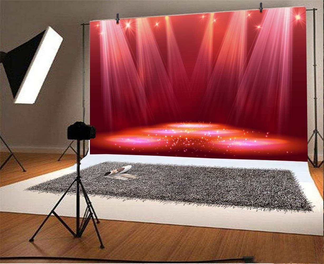 7x5ft Splendid Dreamlike Red Stage Backdrop Vinyl Dreamy Spotlights Light Beams Lightspots Beautiful Stage Background Talent Show Performance Live Show Shoot TV Programming Banner Studio Props