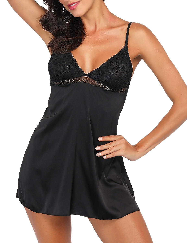 CzDolay woman underwear, pajamas sexy lace shirt mini teddy doll slippery silk pajamas S - XXL