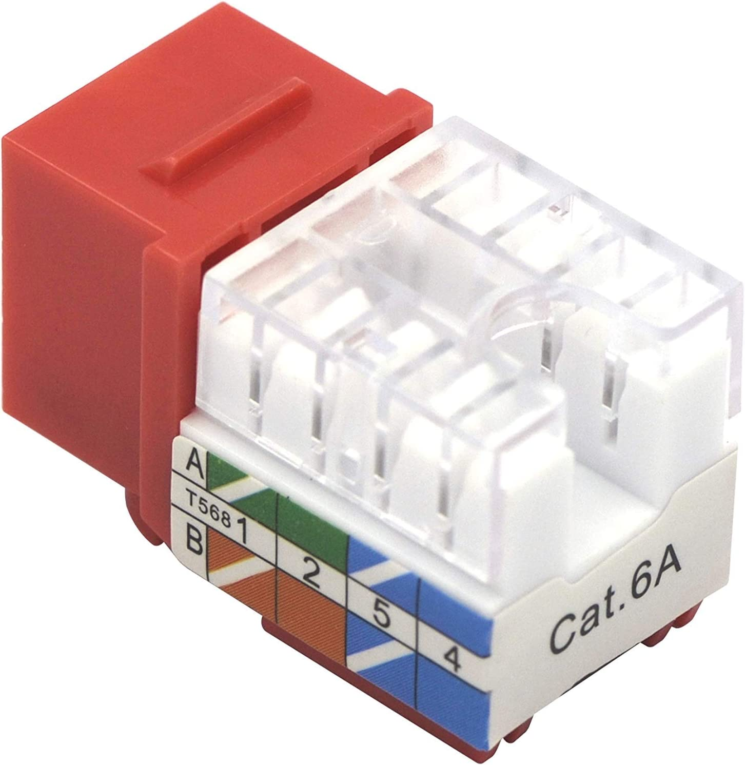 VCE 50 Pack Cat6A RJ45 90-Degree Keystone Jack Insert Bundle with 25-Pack RJ45 Cat6A 90-Degree Keystone Jack Insert