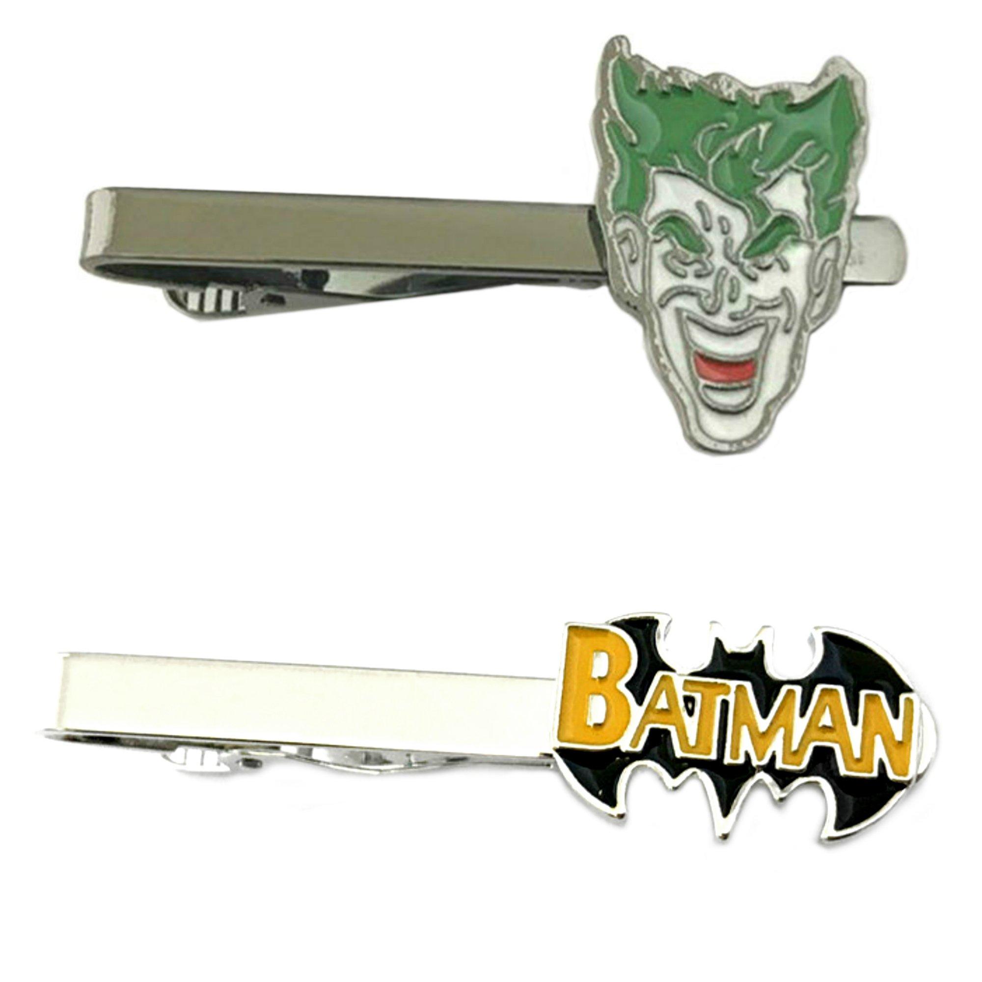 DC Comics - Joker & Batman Text Logo - Tiebar Tie Clasp Set of 2 Wedding Superhero Logo w/Gift Box
