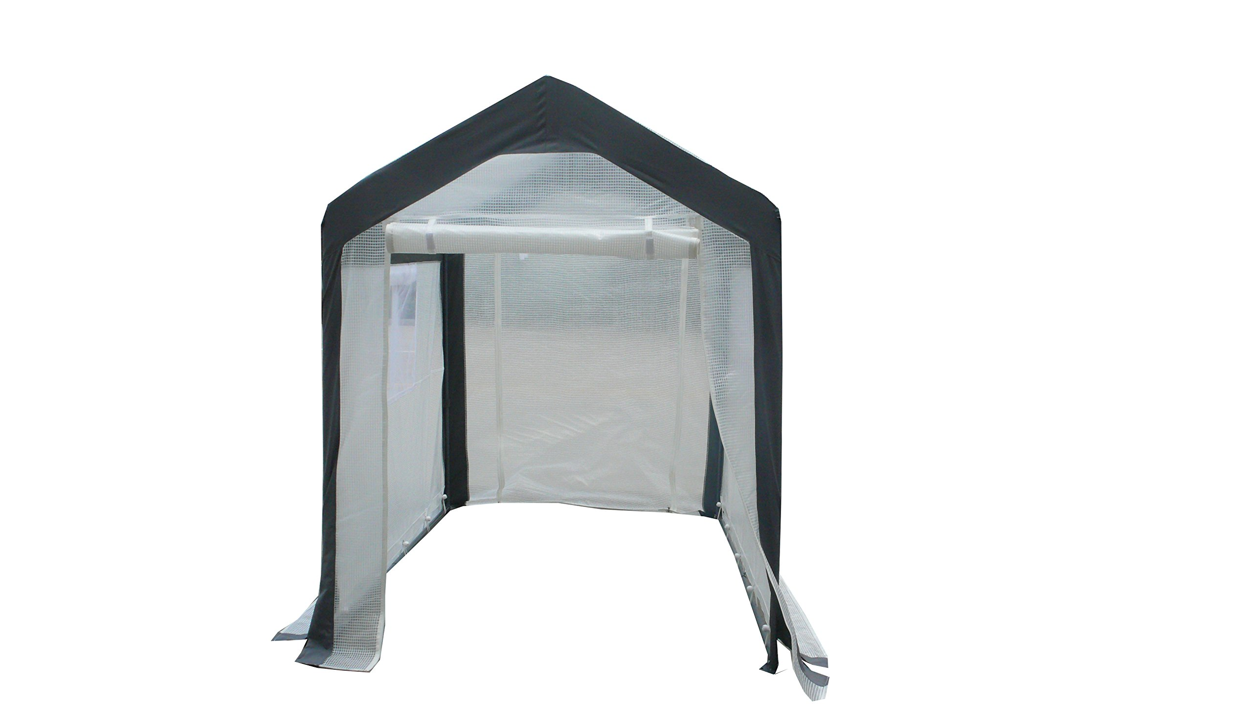 Greenhouse-Spring Gardener Peak Roof Walk In Portable Garden Hot House Fully Enclosed - Screend Windows for Ventilation, Zippered Door (5'W x 6'L x 6.6'H) Small Hobby Greenhouse for decks, patios, porches, backyards