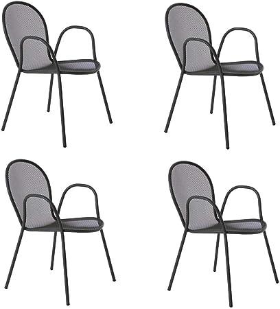 Emu Lot de 4 fauteuils empilables Ronda en fer vieilli, ameublement de bar, d'extérieur, d'intérieur, de maison