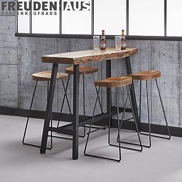 Stehtisch Bartisch Set Wood Akazie Industrial + 4 Barhocker ...