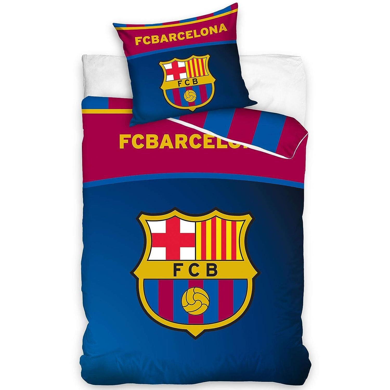 FC Barcelona Parure de lit Housse de Couette 100/% Coton r/éversible 140x200 taie doreiller 70x80 FC Barcelona Club Football Barcelone
