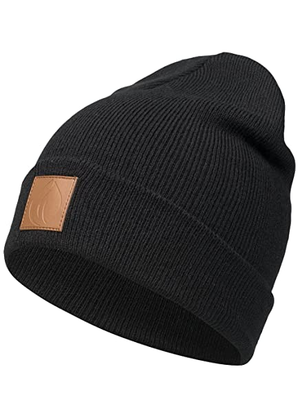 c0e267e4941 Occulto leather patch winter beanie hat. - Black - One size  Amazon.co.uk   Clothing