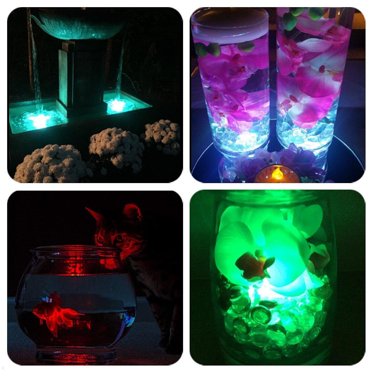 LUXJET RGB Submersible LED Lights Underwater Decor Lighting Color Changing for Aquarium, Pond, Fish Tank, Birdbath, IR Remote Control, Battery Operate, 2 Pack