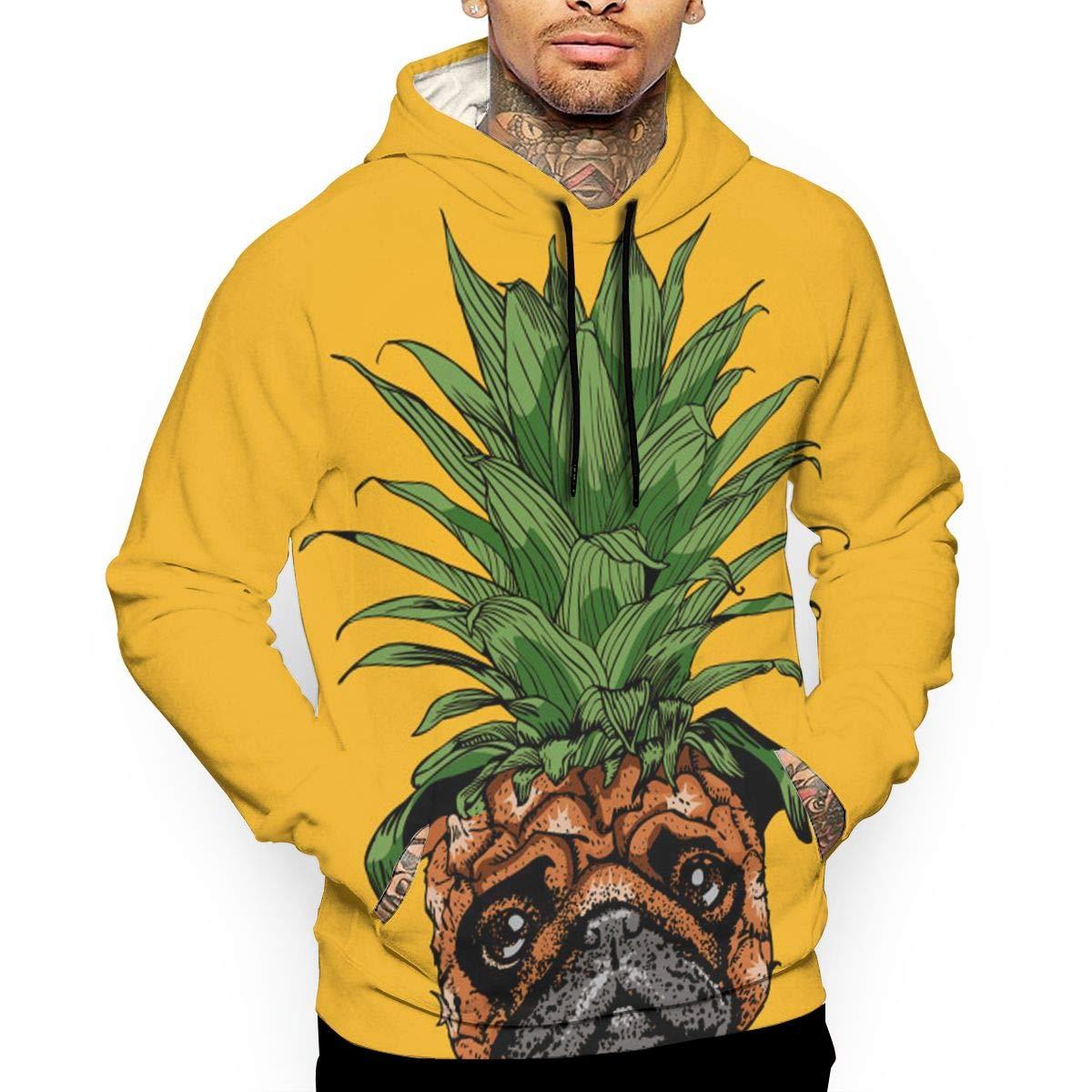 YUANSHAN Pineapple Pug Mans Long Sleeve Hoodie Casual Pocket Hooded Sweatshirt