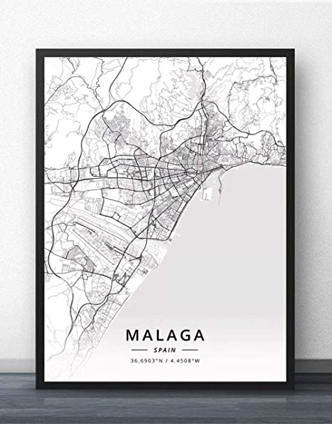 NBHHDH Stampa Su Tela,Nordic Spagna Malaga City Stampa ...