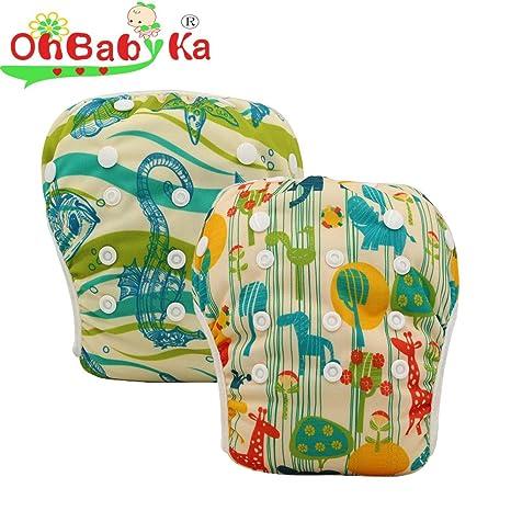 OHBABYKA Pañales de bebé reutilizables, de piscina, un tamaño