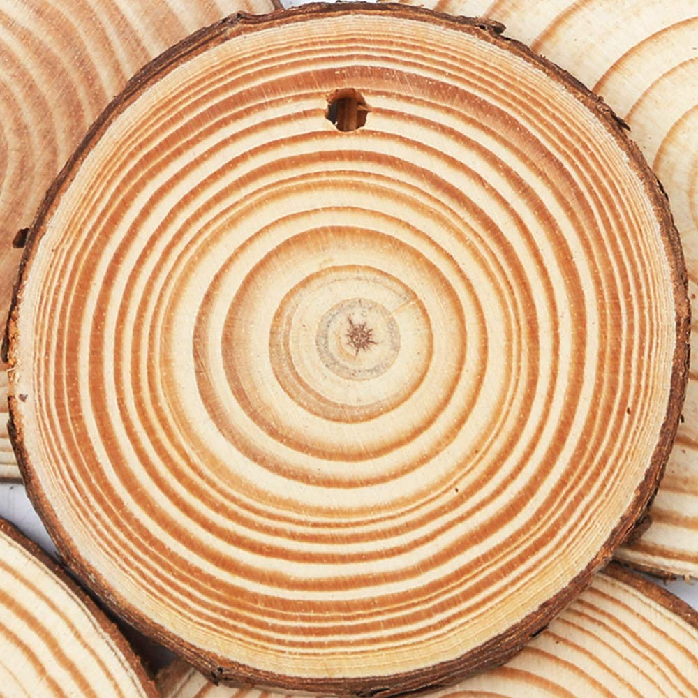 Yexpress Unfinished Natural Thick Wood Slices Circles with Tree Bark Log Discs for DIY Craft Christmas Rustic Wedding Ornaments 3.5-4