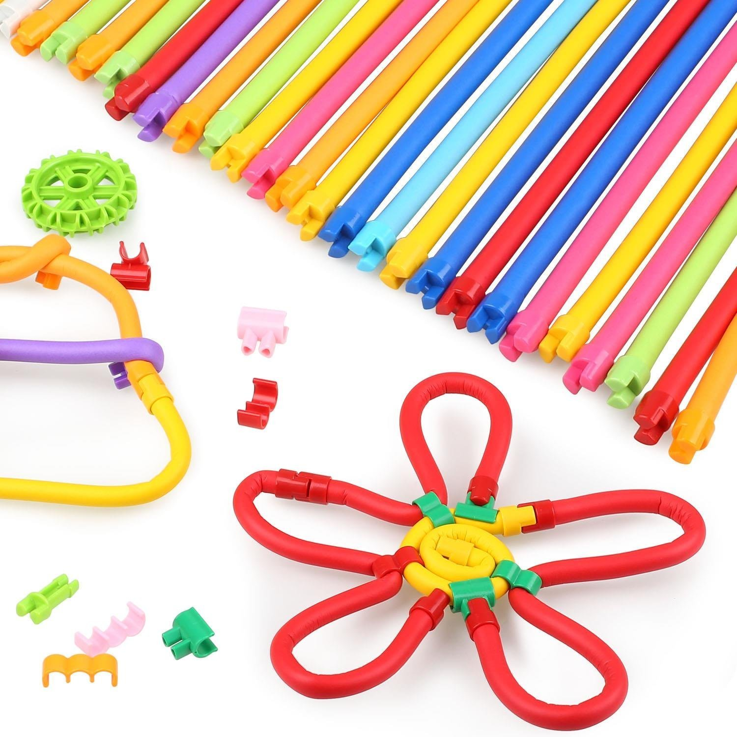 SACHUKOT 75 PCS DIY Learning Toys Building Blocks for Kids, 360° Bendable Building Sticks Toy for Imagination Education Early Learning Gifts