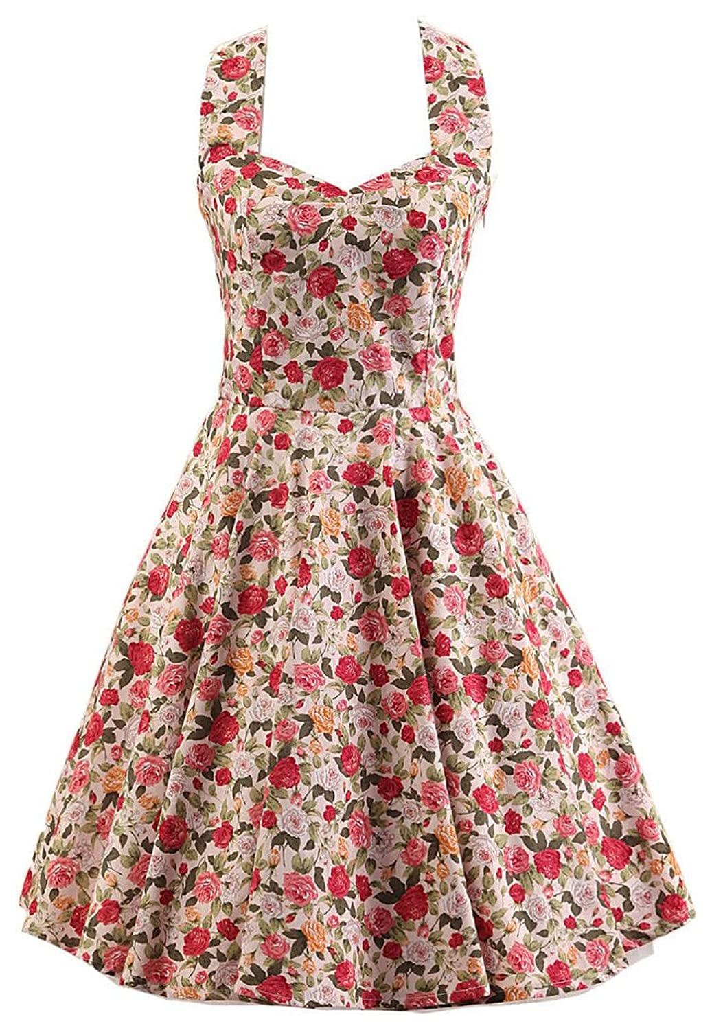 Speerise Womens 50s Vintage Style Halter Rockabilly Swing Cocktail Party Dress