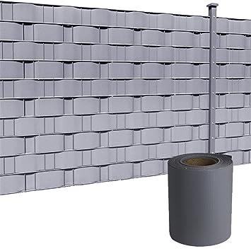 HENGMEI 19cmx35m Bande de Protection en PVC Brise Vue Pare Vent Comprend  des Clips de Montage pour Clôture de Jardin, gris clair