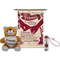 Saugat Traders Gift Combo for Friend - Teddy with Friendship Scroll Card & Message Bottle
