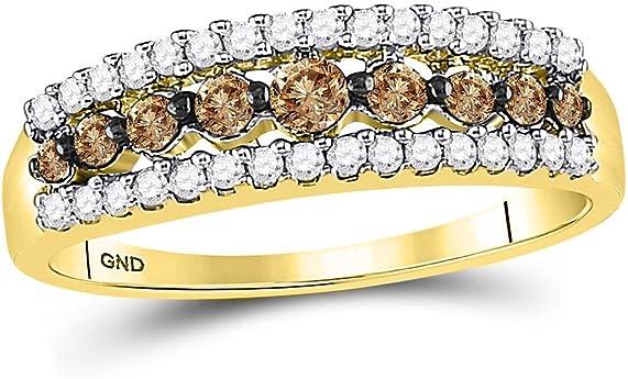 anillo oro amarillo en bandas de colores blanco y marrón