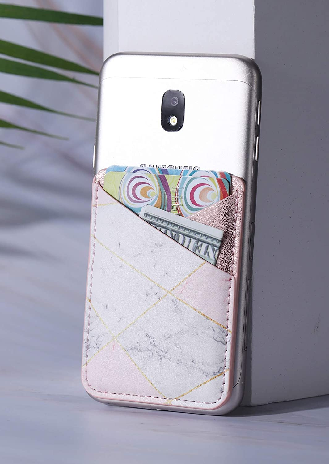 with 3M Sticker for Back of iPhone,Android and All Smartphones-Cubic Marble Double Secure 2Pack PU Leather Phone Pocket,Cell Phone Stick On Card Wallet,Credit Cards//ID Card Holder