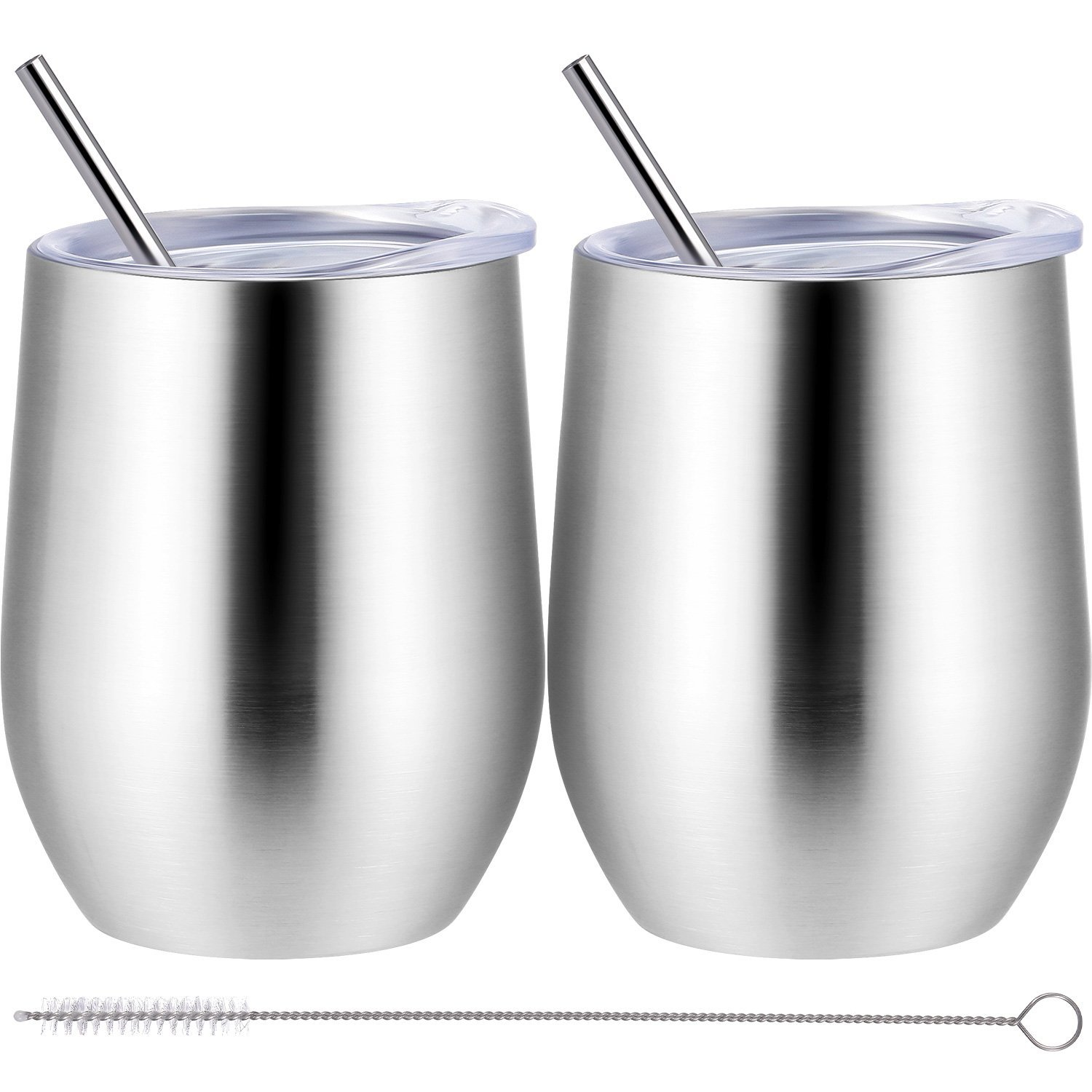 Skylety 12 oz Double-insulated Wine Tumbler, Stainless Steel Tumbler Cup with Lids and Straws for Wine, Coffee, Drinks, Champagne, Cocktails, 2 Sets (Silver)