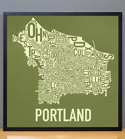 Ork Posters Framed Portland Neighborhoods Map Art Screen Print, Green &  Green, 18