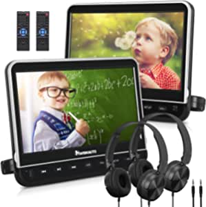 """NAVISKAUTO 10.1"""" Dual Car DVD Players with 2 Headphones Support 1080P Video, HDMI Input, Sync Screen, AV Out & in, Resume, Region Free, USB SD (2 x Headrest DVD Players)"""